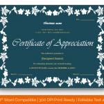 Certificate of Appreciation for Teachers (Dark, Fillable) p
