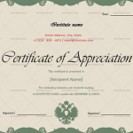 Certificate of Appreciation for Teachers (Green, Printable )