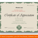 Certificate of Appreciation for Teachers (Green, Printable ) p