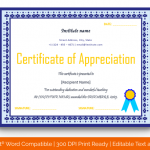 Certificate of Appreciation for Teachers (White, Editable in Word) p