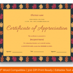 Certificate of Appreciation for Teachers (Yellow, Fillable in Word) p