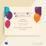 Birthday Gift Certificate (Orange, Editable in Word)p