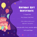 Birthday Gift Certificate (Party, Blank)
