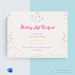 Birthday Gift Certificate (Simple, Printable in Word)p