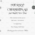 Christmas Gift Certificate Template (Grey, Blank)