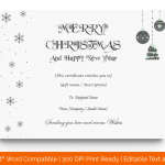 Christmas Gift Certificate Template (Grey, Blank) p