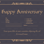 Anniversary Gift Certificates Template (Black, Printable in Word)