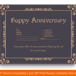 Anniversary Gift Certificates Template (Black, Printable in Word) p