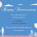 Anniversary Gift Certificates Template (Blue, Fillable)