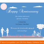 Anniversary Gift Certificates Template (Blue, Fillable) p