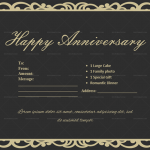 Anniversary Gift Certificates Template (Classic, Fillable)