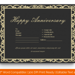 Anniversary Gift Certificates Template (Classic, Fillable) p