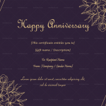 Anniversary Gift Certificates Template (Gold, Blank)