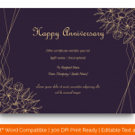 Anniversary Gift Certificates Template (Gold, Blank) p