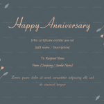 Anniversary Gift Certificates Template (Grey, Editable)