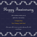 Anniversary Gift Certificates Template (Navy Blue, Editable in Word)