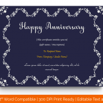 Anniversary Gift Certificates Template (Navy Blue, Editable in Word) p
