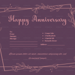 Anniversary Gift Certificates Template (Purple, Fillable in Word)