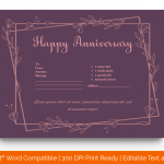 Anniversary Gift Certificates Template (Purple, Fillable in Word) p