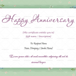 Anniversary Gift Certificates Template (White, Printable)