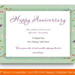 Anniversary Gift Certificates Template (White, Printable) p