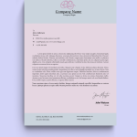 Pink and Grey baby Official Letterhead Template