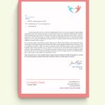 Simple Pink Border Charity Logo Letterhead Template