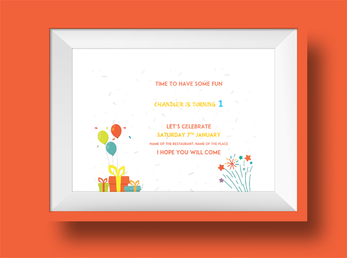 1st Birthday Invitation Template 1