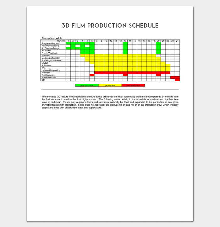 3D Film Production Schedule 1