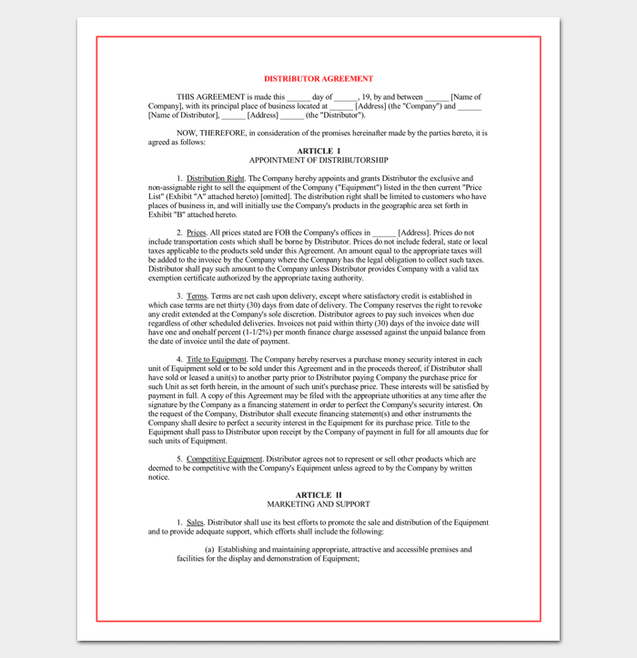 Reseller Agreement Template 6 Samples Examples Formats