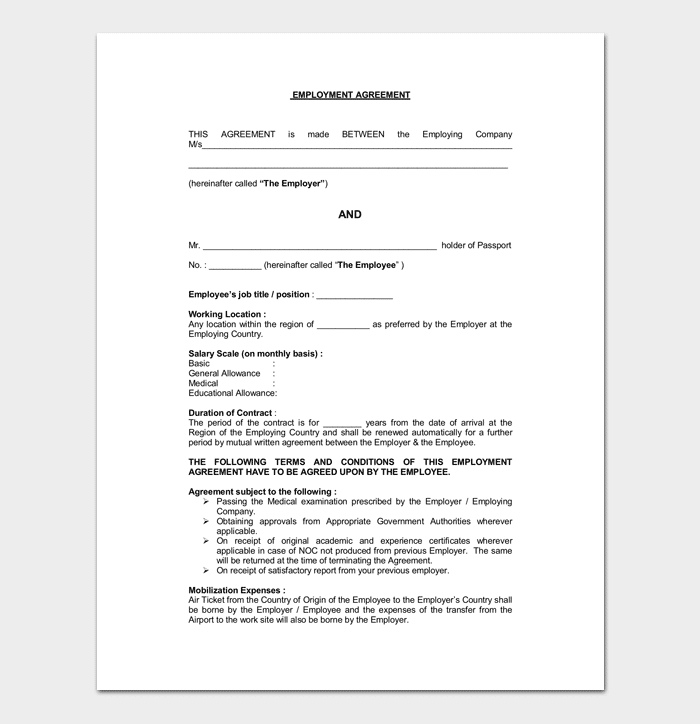 Agreement Between Employee and Employer 1