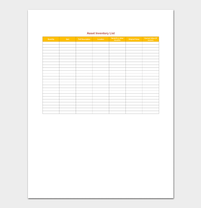 Asset Inventory Template from images.docformats.com
