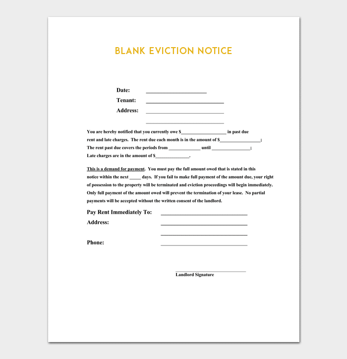 image about Printable Eviction Notice referred to as Eviction Attention Template - 5+ Blank Notices For Phrase, PDF Structure