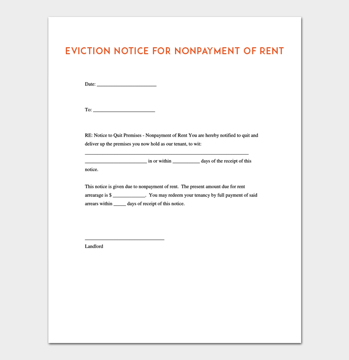 Eviction Notice Template 5 Blank