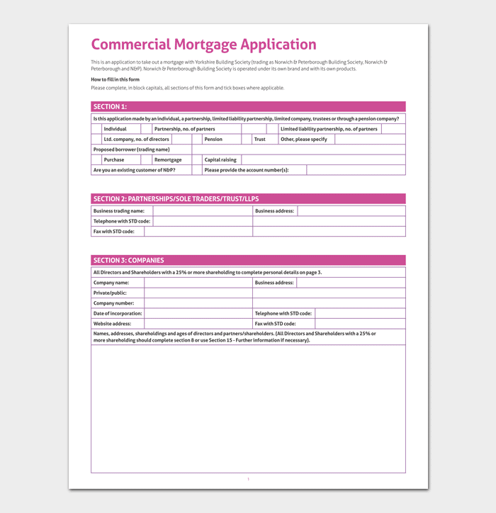 Mortgage application template 4 fillable forms for word pdf commercial mortgage application template 1 cheaphphosting Image collections