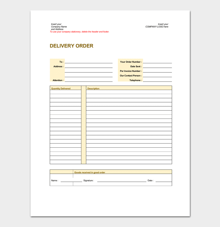 Delivery Order Template for Goods
