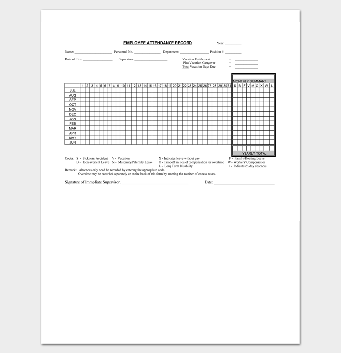 attendance list template 9 sheets for word excel pdf