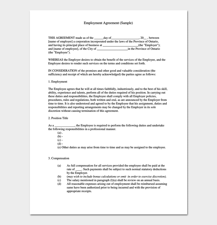 Employment Job Contract Template 1