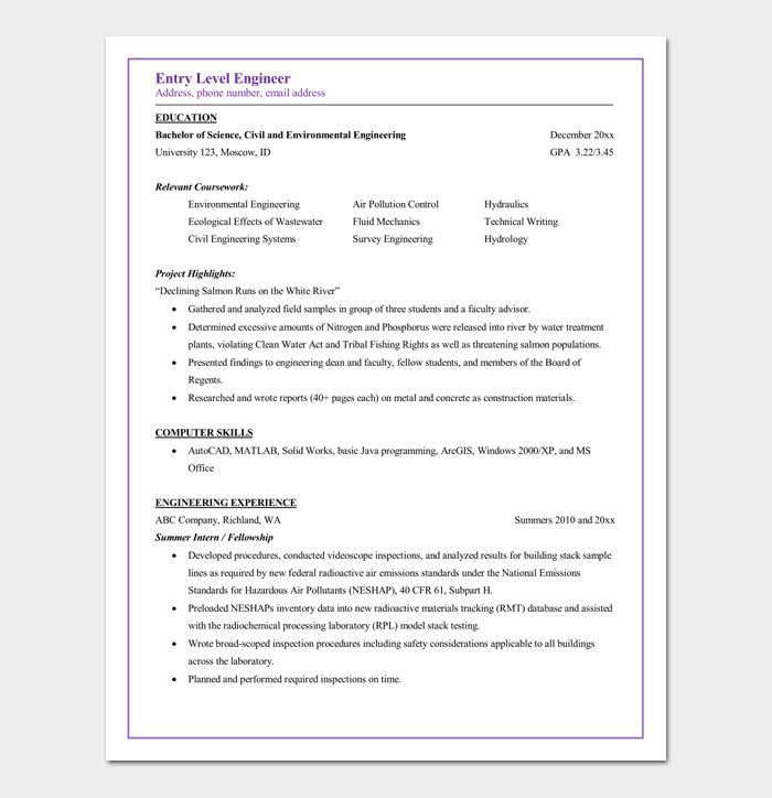 entry level civil engineering resume - Sample Resume Entry Level Civil Engineer