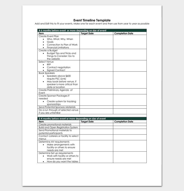 Event timeline template 7 for word excel ppt pdf format event plan timeline checklist maxwellsz