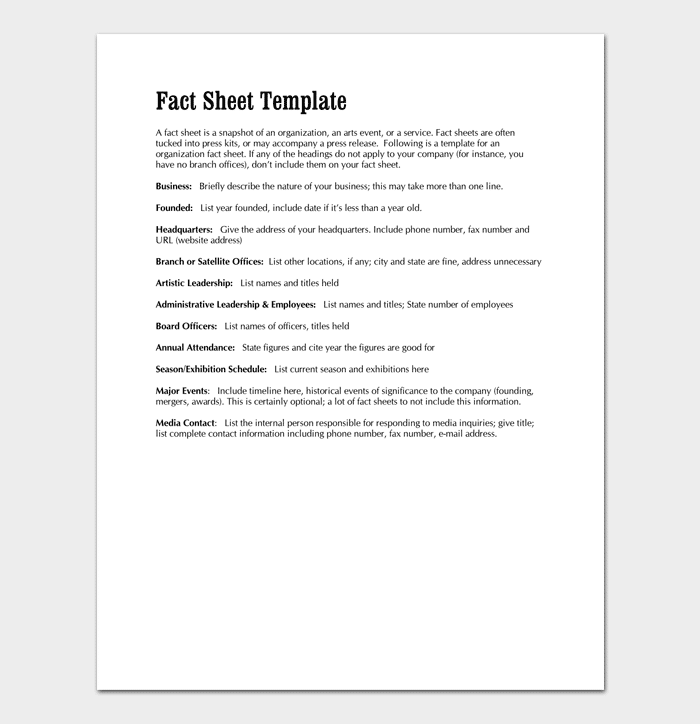Fact sheet template 6 for word doc pdf format fact sheet template for business 1 wajeb Image collections