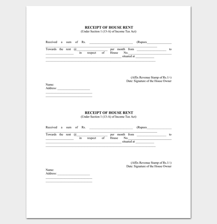 Rent Receipt Template 9 Forms for Word Doc PDF Format – Receipt Document Template