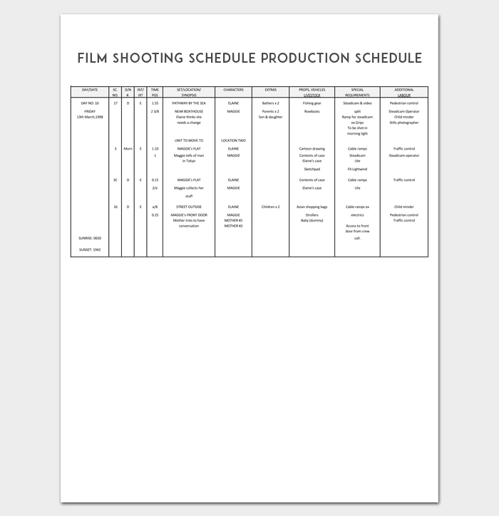 Production schedule template 8 for pdf word doc excel film shooting schedule production schedule template pronofoot35fo Image collections