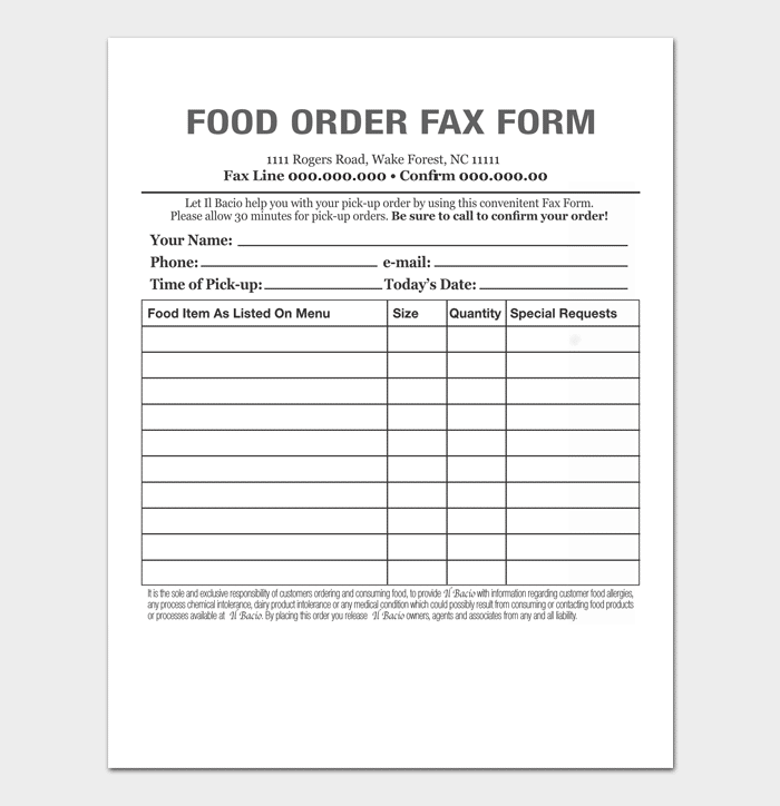Food Order Delivery Form 1