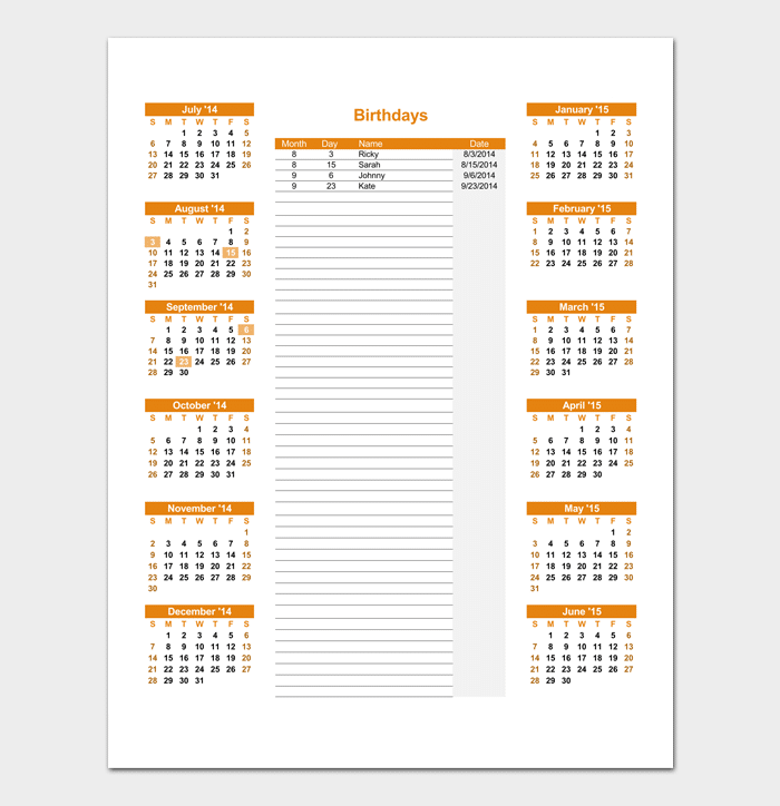 Friends and Family Birthday Calendar