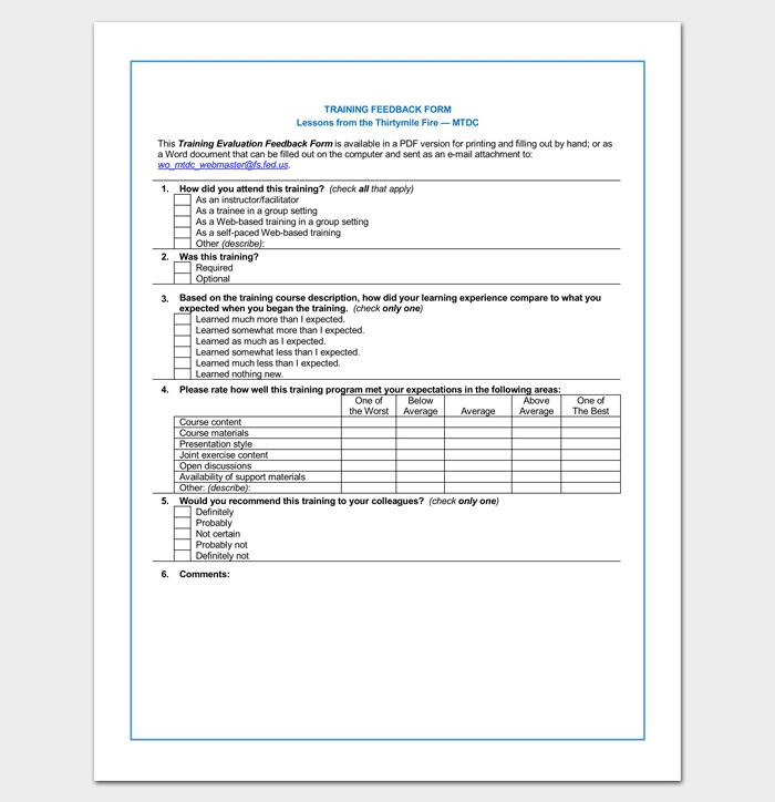 HR Training Feedback Form