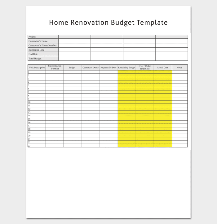 home renovation budget template 1