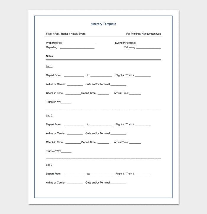 Itinerary Template for Executive Travel