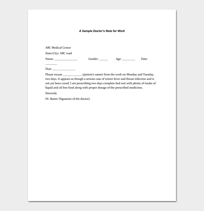 printable doctors note template for work