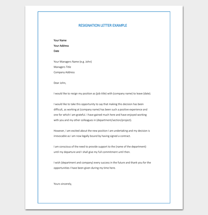 resignation letter template 7 for word doc pdf format
